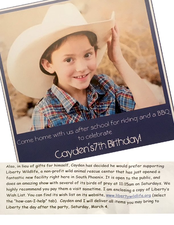 Hayden's birthday invitation...